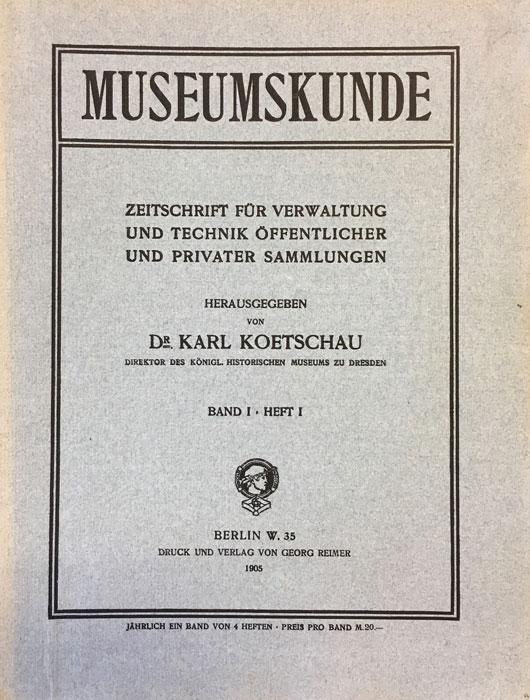 Titel Museumskunde 1905, Band 1