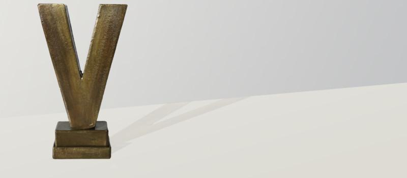Bronzefarbener Pokal in V-Form für vorbildliches Volontariat