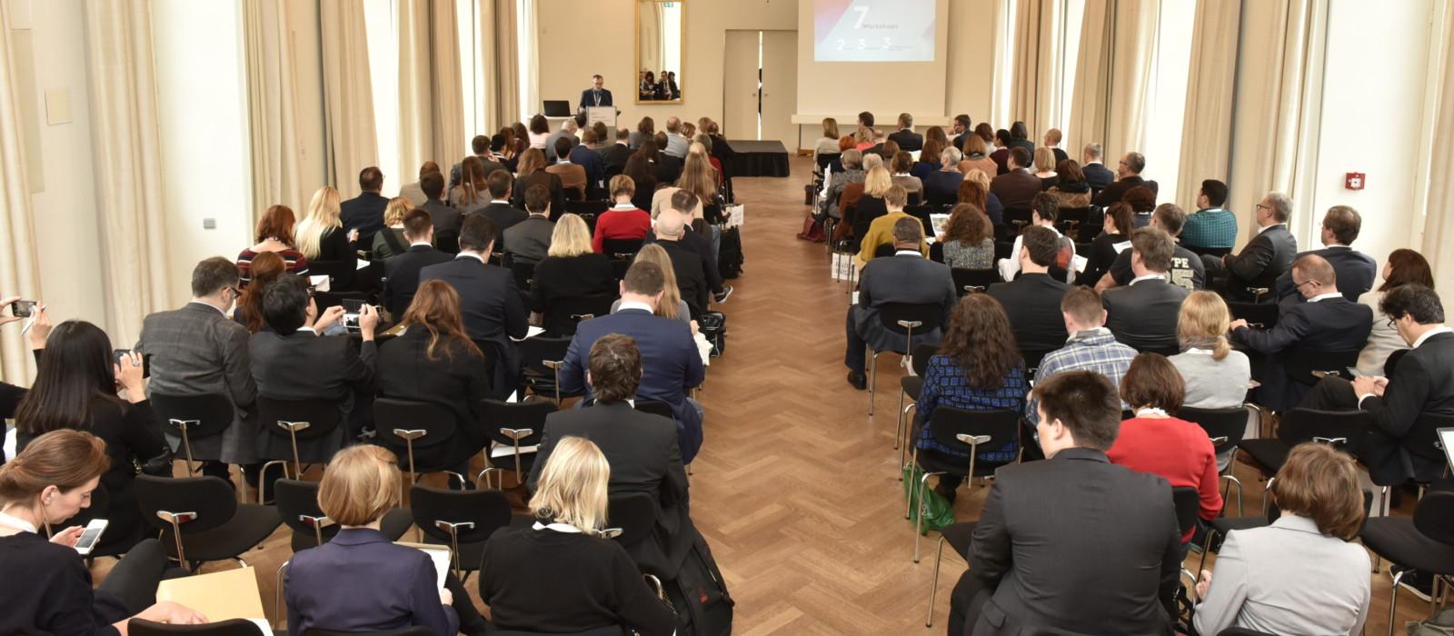 Tagung des Netzwerks Europäischer Museumsorganisationen 2017 in Erfurt, hier Teilnehmer bei einem Vortrag