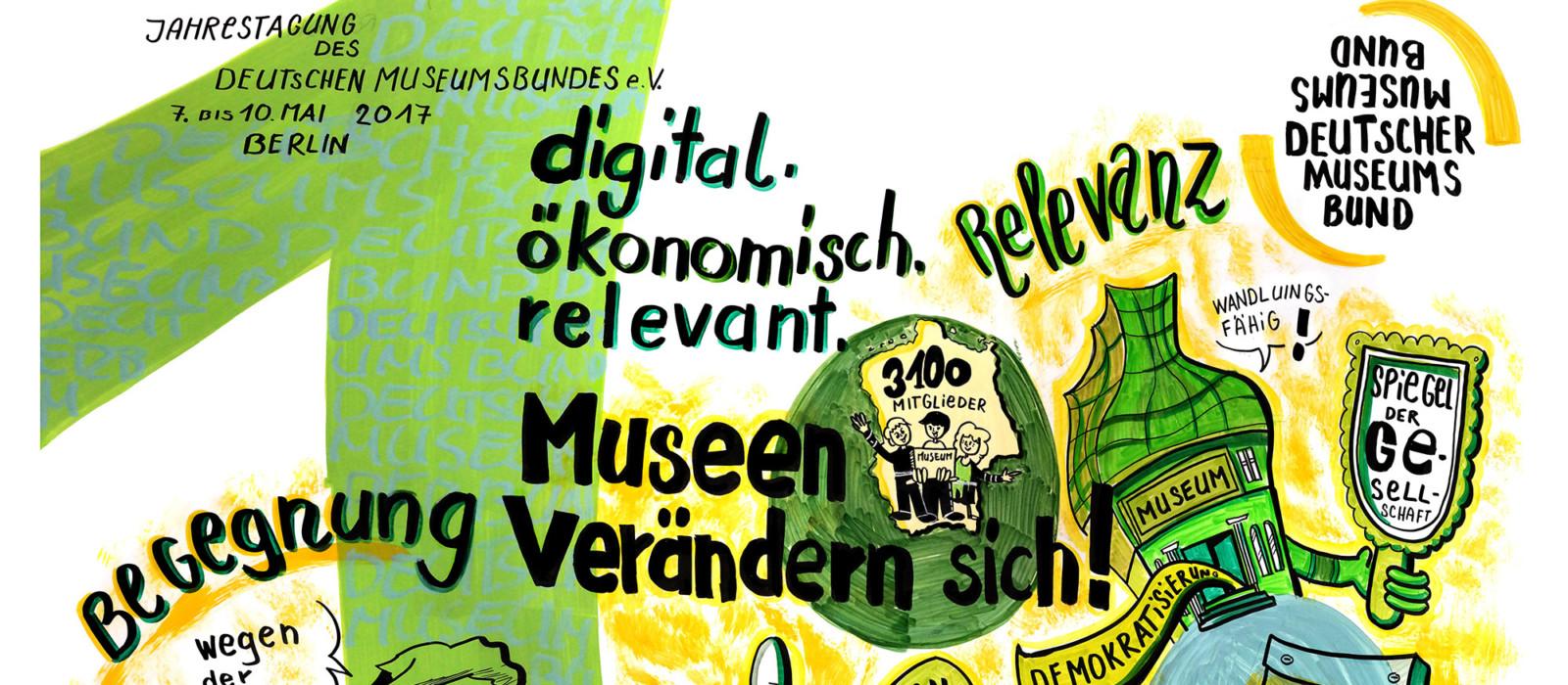 """Graphische Darstellung des Tagungstitels """"digital. ökonomisch. relevant. Museen verändern sich!"""" der Jahrestagung des DMB 2017."""