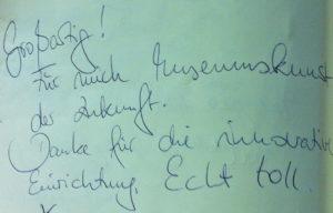 Eintrag im Gästebuch des Museums Leuchtenburg