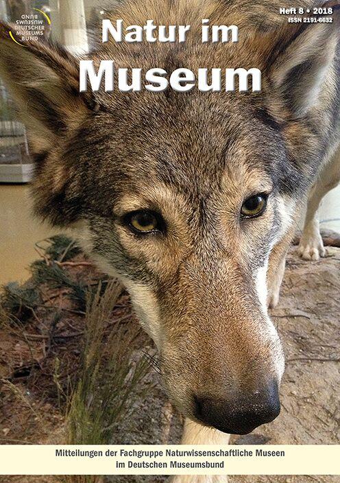 Titelbild Zeitschrift Natur im Museum. Freistehendes Präparat eines Wolfs in Ausstellung.